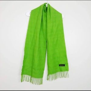 "Accessories - 100% Cashmere Scarf Fringe Green 66.5"" x 12"" #H8"